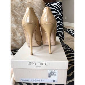 Jimmy Choo Nude Patent Cosmic Pump Size 37